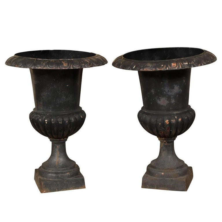 Pair of Antique Cast Iron Garden Urns