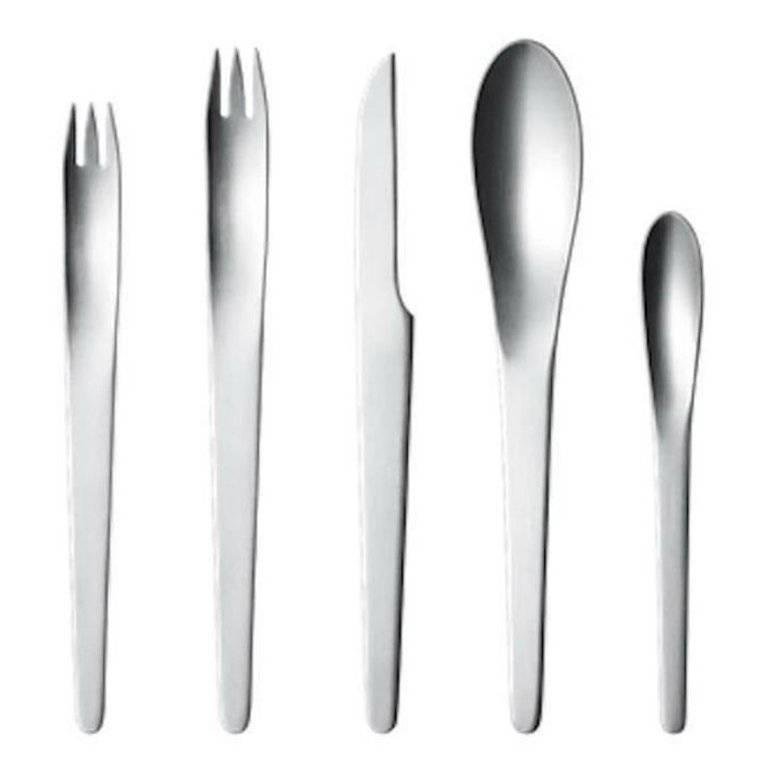 Arne jacobsen by georg jensen stainless steel flatware set four service 20 pcs at 1stdibs - Arne jacobsen flatware ...