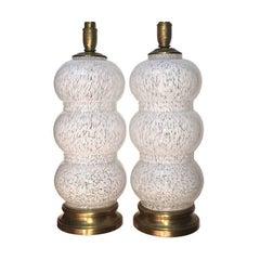 Pair of White Murano Glass Lamps