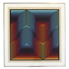 Mid-Century Modern Op Art Print Signed Yvaral Vasarely Numbered 69/200