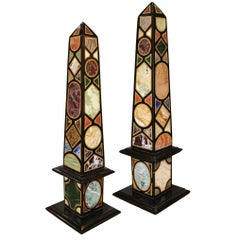 Colorful Pair of Specimen Marble and Other Semi-Precious Stone Obelisks
