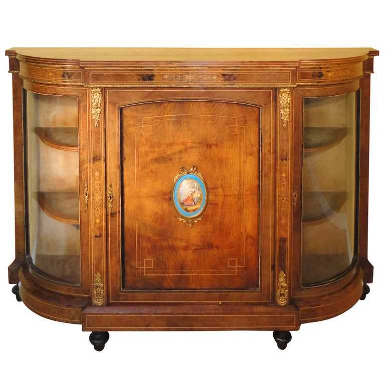 Victorian Burr Walnut and Marquetry Inlaid Credenza
