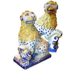 Exceptional Pair of 18th Century Faience Ceramic Lions