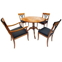 Biedermeier Table Group, One Table, Two Armchairs, Two Chairs