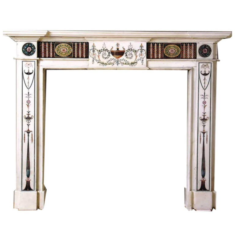 18th Century Bossi Hand-Carved Statuary Marble Fireplace with Scagliola Inlay For Sale