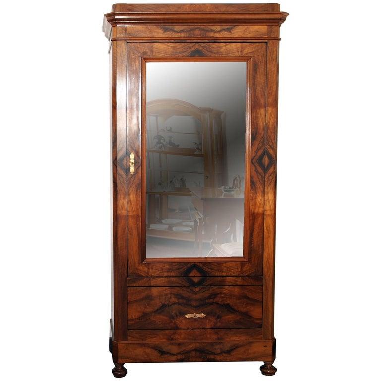 19th Century Single Door Cabinet Walnut Veneer From Germany At 1stdibs