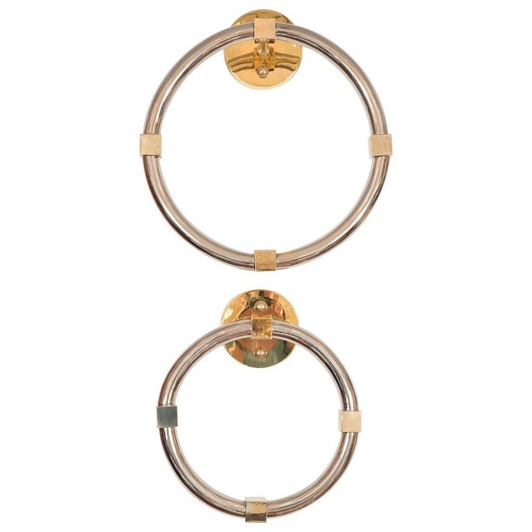 Polished Nickel and Brass Towel Rings For Sale