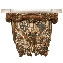 French Early 19th Century Architectural Gilded Wood Wall Hanging Fragment Shelf