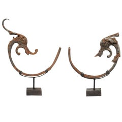 Pair of French Early 19th Century Iron Mythological Dolphin Statues on Stands
