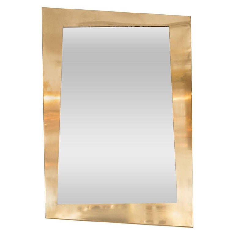 Brass Trapezoidal Mirror For Sale