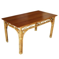 Mid-Century Six Person Rattan and Mahogany Dining Table