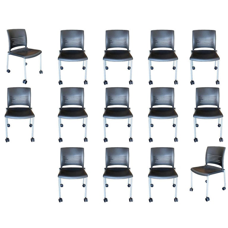 Giancarlo Piretti Rolling Side Desk Chair by Strive, Set of 14