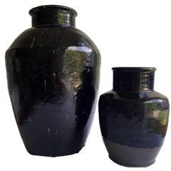Black Glazed Jars, Two Chinese Antique Vinegar Jars, Handmade Pottery