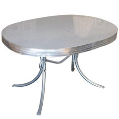Midcentury Oval Formica Kitchen Dining Table with Chrome Legs