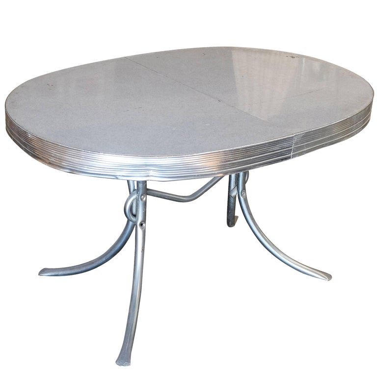Mid-Century Oval Formica Kitchen Dining Table with Chrome Legs