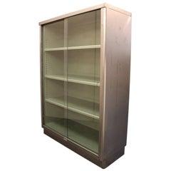 Vintage Mid-Century Modern Streamlined Industrial Steel Bookcase Display Case