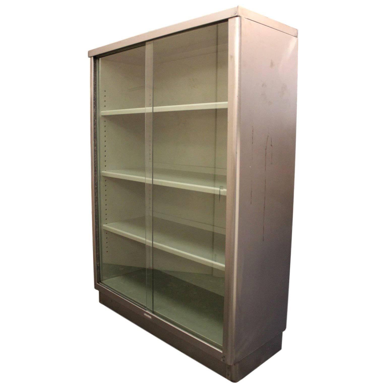 vintage midcentury modern streamlined industrial steel bookcase display case 1
