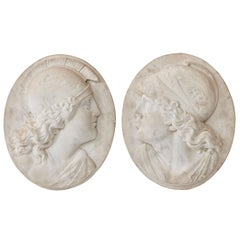 Pair of Marble Grand Tour Reliefs of Mercury & Minerva, Italy, 19th Century