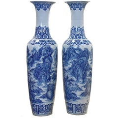 Massive Pair of Chinese Blue and White Porcelain Vases, Signed