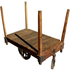 One Antique Wood Iron Industrial Rolling Cart