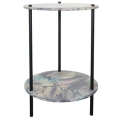 Ambrosia Accent Console Table, Concrete Oracle Pattern Disks and Steel Legs