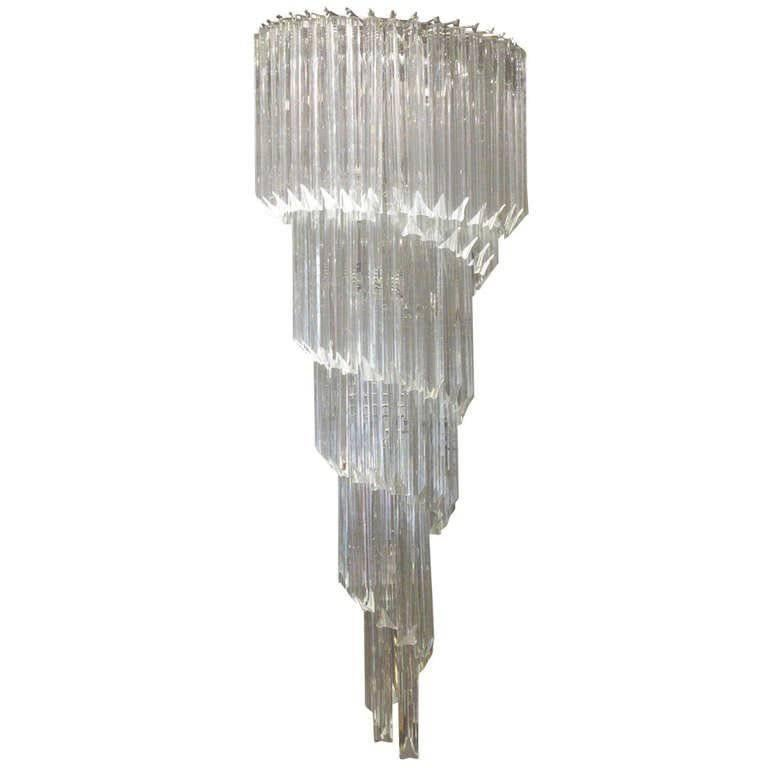 1960s Murano Spiral Large-Scale Chandelier