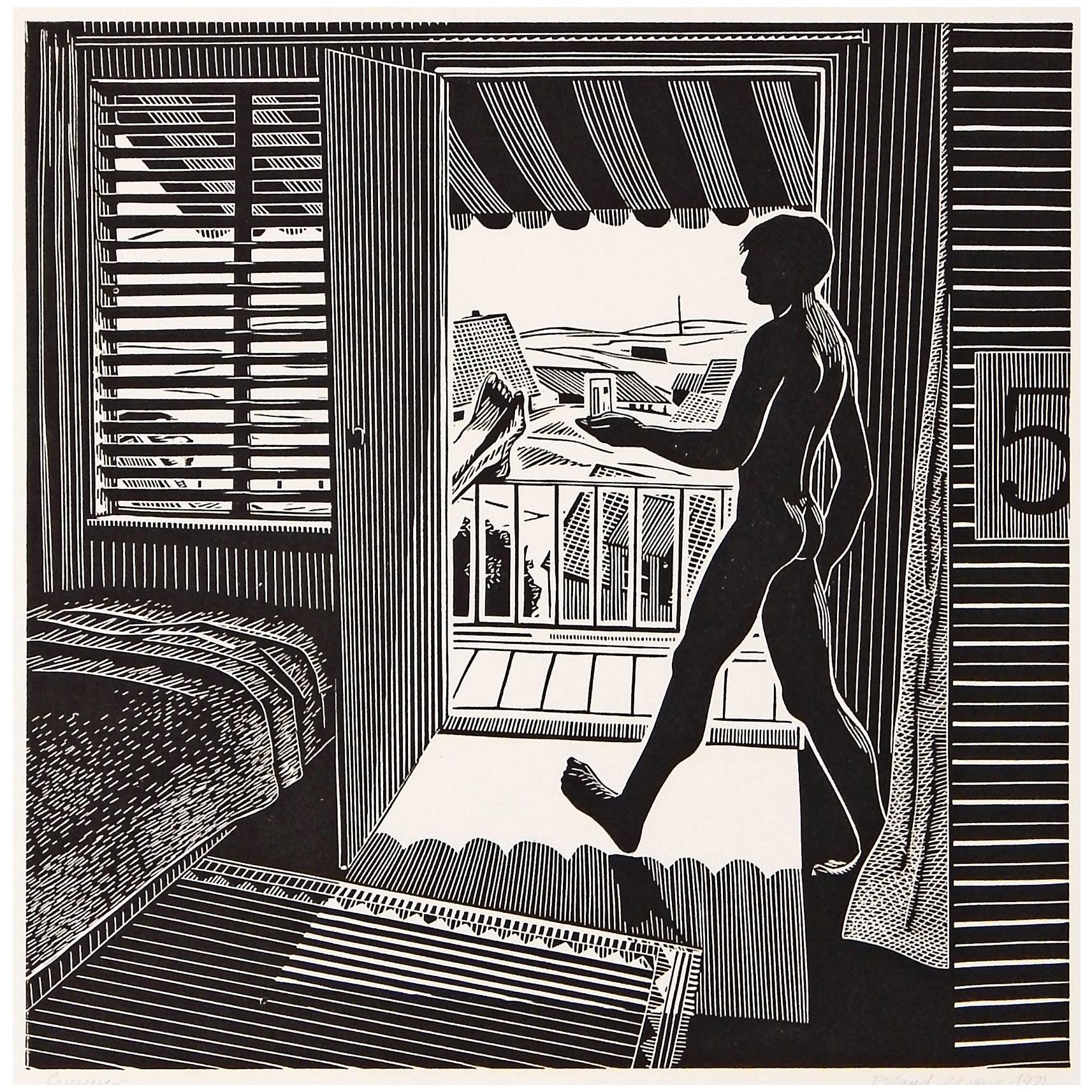 """""""Summer,"""" Rare Linocut Print with Male Nude by Roland Berger, 1977"""
