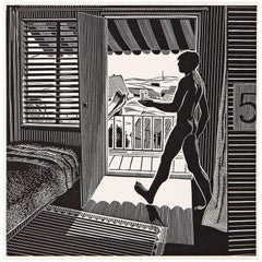 """Summer,"" Rare Linocut Print with Male Nude by Roland Berger, 1977"