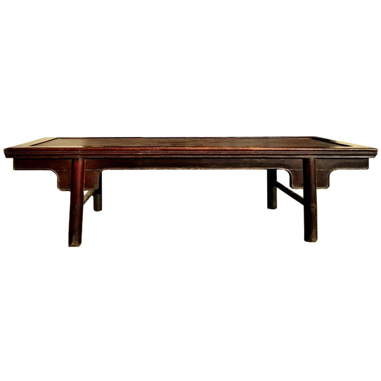 Ming style wide bench large coffee table with rattan top for Coffee tables 30cm wide
