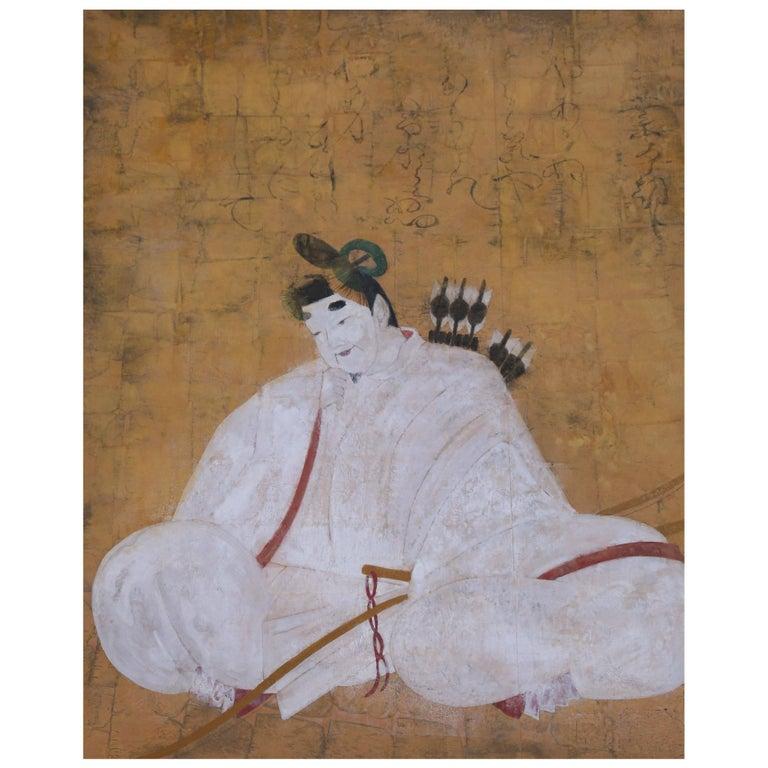 Vintage Large Framed Painted Wallpaper Panel of Asian Warrior