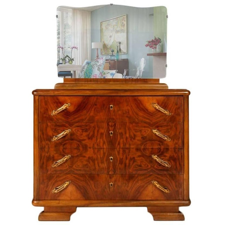 1920s Art Deco Commode Dressers in Burl Walnut with Mirror, polished to wax