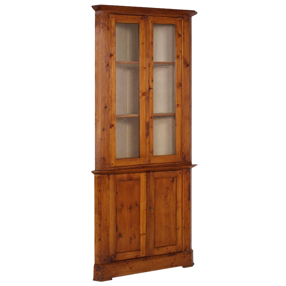 18th Century Tall Corner Display Cabinet, Cupboard, Restored and Wax Polished