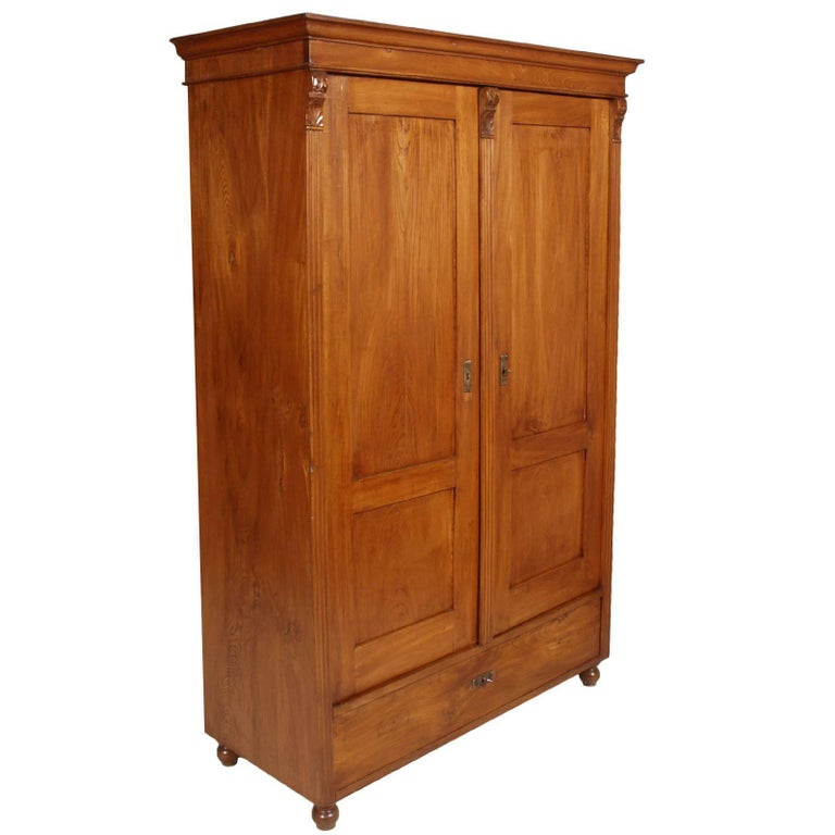 1850s Antique Neoclassic Cabinet Cupboard, Solid Wood Restored and Wax-Polished  For Sale - 1850s Antique Neoclassic Cabinet Cupboard, Solid Wood Restored And