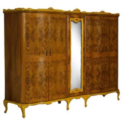 1940s Revival Venetian Baroque Wardrobe, Hand-Carved Walnut and Burl Walnut
