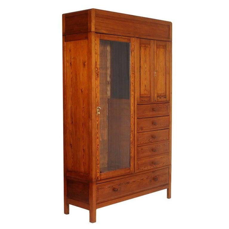 1920s Art Deco Dresser Wardrobe, solid larch Cabinet, Restored, Polished to Wax