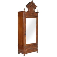 1850s Original Louis Philip Armoire Wardrobe Cupboard, Mirrored in Carved Walnut