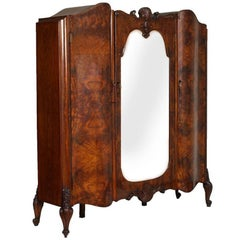 1910s Baroque Venetian Wardrobe with Mirror, Hand-Carved Walnut, Burl Walnut