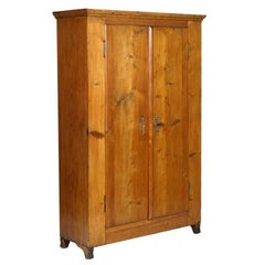 Late 19th Century, Austrian Country Cupboard Wardrobe in Solid Fir Restored