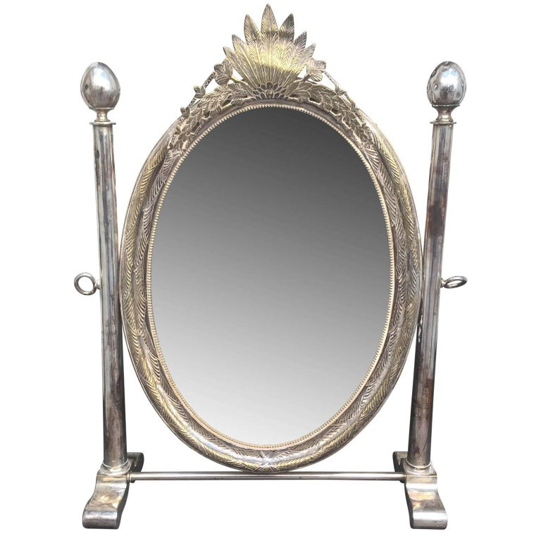 19th Century Russian Silver Plated Oval Vanity Mirror 1