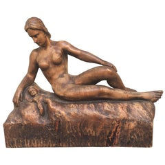 German Sculpture of Mother and Child, Signed Muller Rod 1943