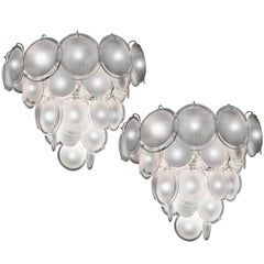 Charming Pair of Murano Disc Chandeliers by Vistosi, 1970s