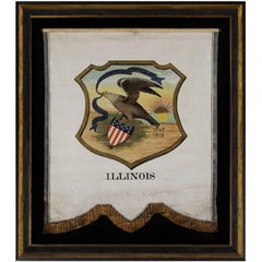Hand-Painted 19th Century Banner with the 1867 Proposed Seal of Illinois