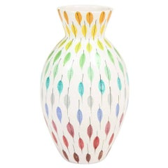 Bitossi Raymor Ceramic Vase Piume Multi-Color Feather Signed, Italy, 1960s
