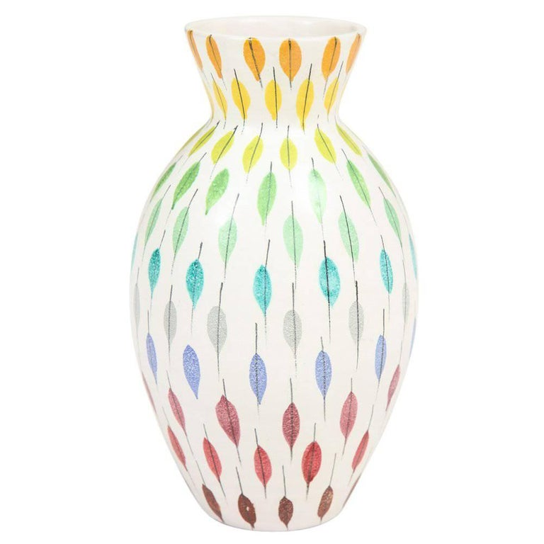 Bitossi Raymor Ceramic Vase Piume Multi-Color Feather Signed, Italy, 1960s For Sale