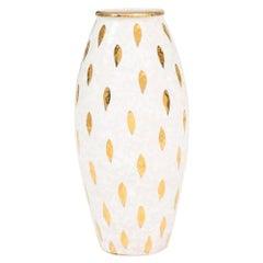 Bitossi Ceramic Vase Piume Gold White Signed Italy, 1960s