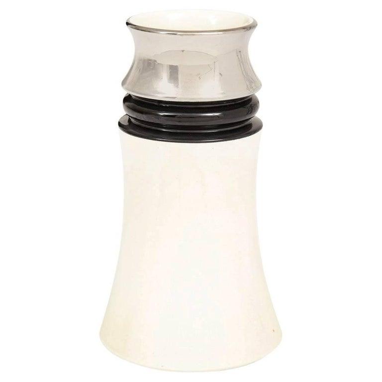 Bitossi Ceramic Vase Metallic Chrome Silver Black White Signed, Italy, 1970s For Sale