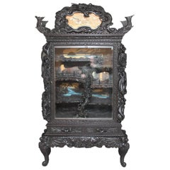 Large Unusual Carved Japanese Display Cabinet