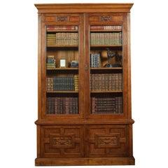 Late 19th Century Oak Two-Door Bookcase