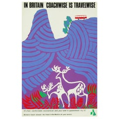 1960s British Coach Travel Poster Deer Mid-Century Pop Art
