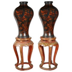 Large Pair Antique Japanese Lacquer Vases on Stands 19th Century